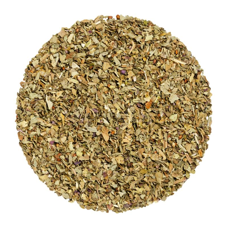 Dried basil, herb circle from above, over white stock images
