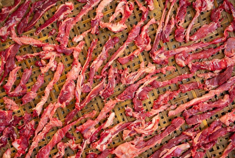 Dried beef in the threshing basket. royalty free stock image