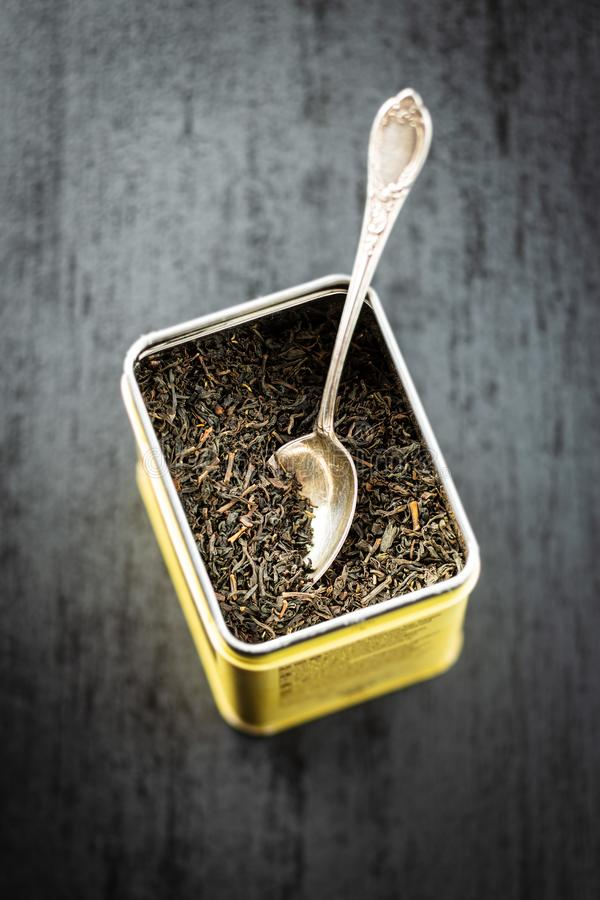 Dried black tea leaves royalty free stock image