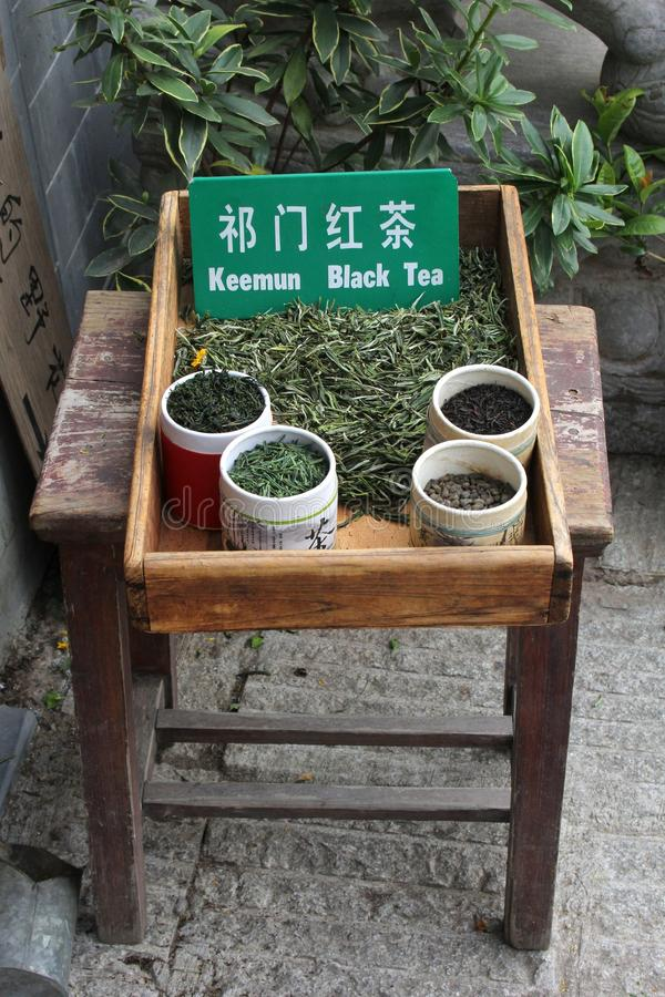 Exclusive natural dried black tea for sale, Hongcun, China royalty free stock photos
