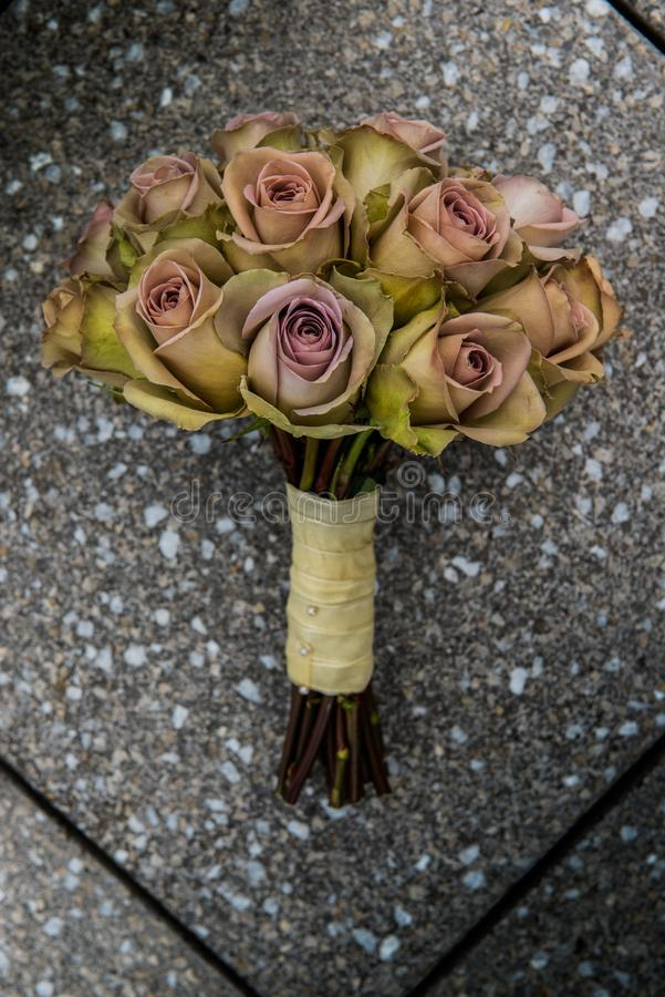 Dried Bouquet wedding flower arrangement. Stylish and sophisticated stock images
