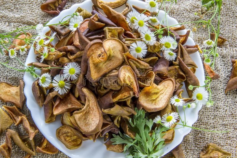 Dried brown pear slices white plate with white flowers. White daisy flowers and a green wormwood branch. Useful dry food. Edible s. Dried brown pear slices white royalty free stock photo