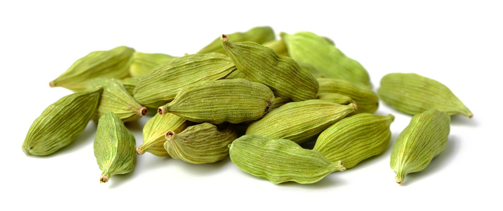Dried cardamom seeds isolated on white. Background stock image