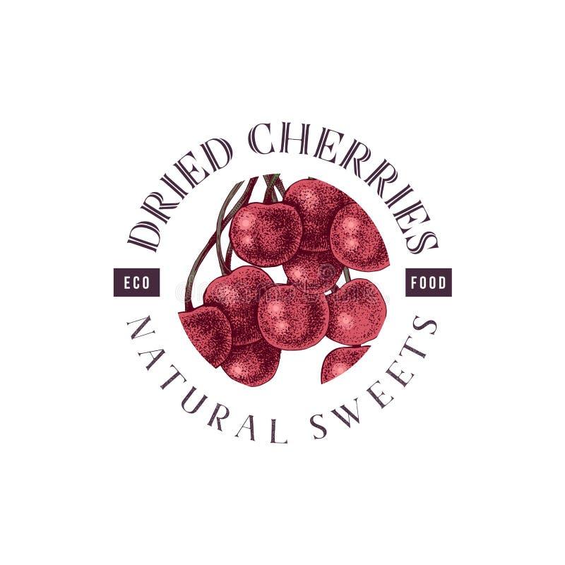 Dried cherries emblem vector illustration