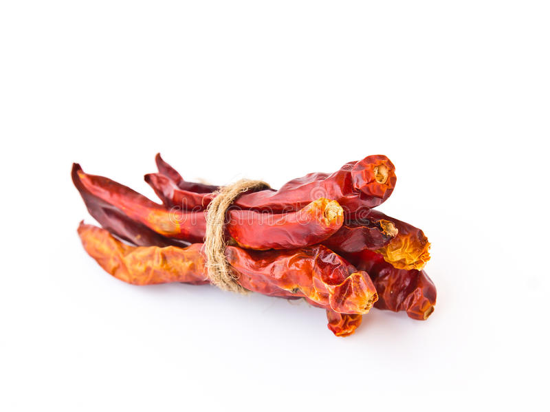 Dried chili peppers. Isolated on white background stock photos
