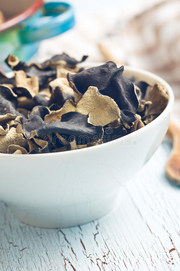 Dried chinese black fungus. Jelly ear royalty free stock photography
