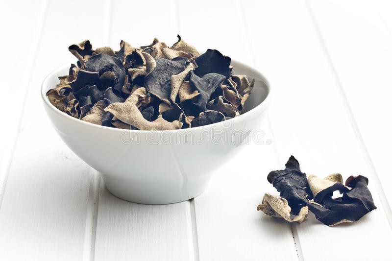 Dried chinese black fungus. Jelly ear royalty free stock image