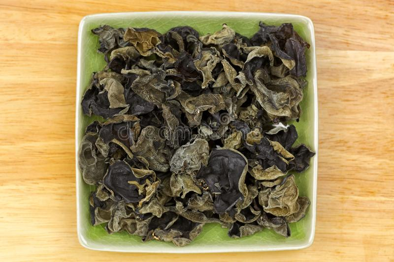 Dried Chinese edible black fungus, called Jew`s Ear Mushroom in stock photos