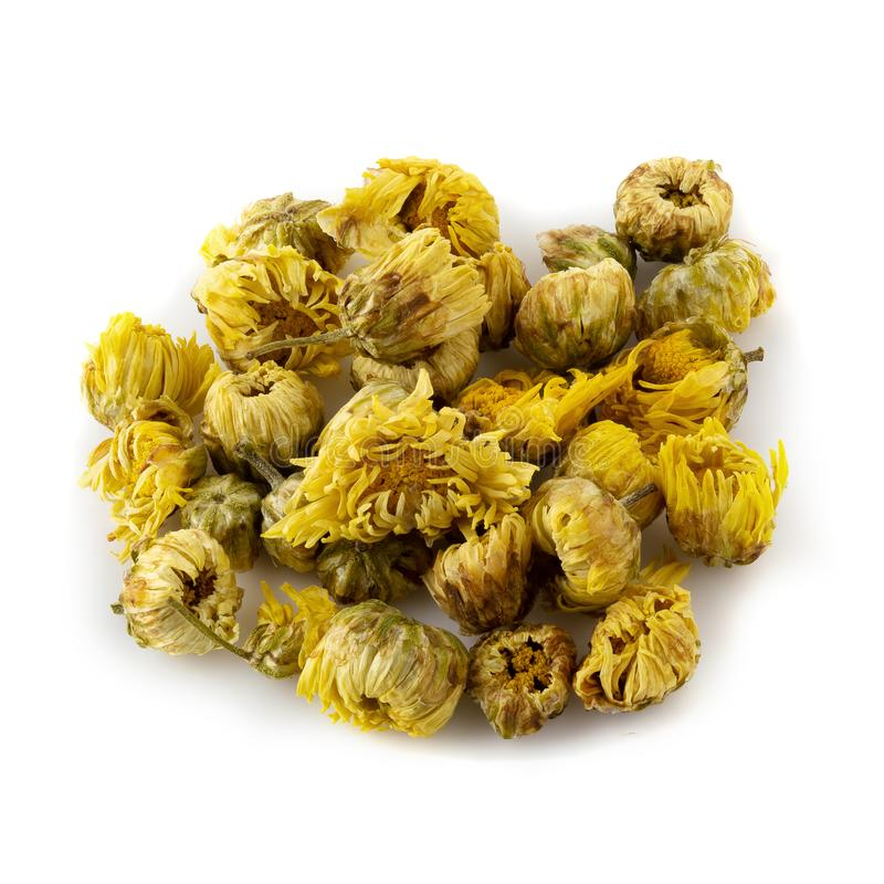Dried Chrysanthemum Flowers isolated on a White Background. Aroma, asian, beverage, botanical, botany, bunch, china, chinese, close, color, cultivate, cure stock photo