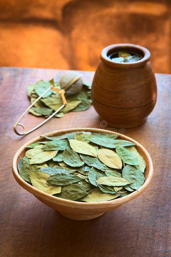 Dried Coca Leaves and Coca Tea. Dried coca leaves in clay bowl with fresh coca tea (mate de coca) in the back, photographed with natural light (Selective Focus stock photography