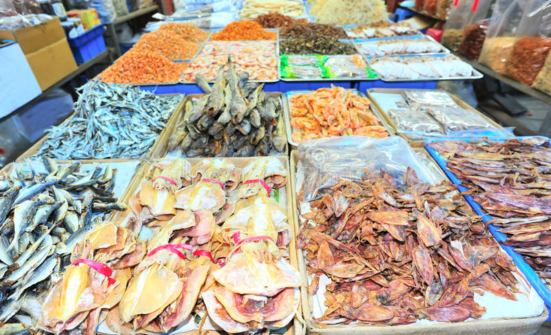 Dried cuttlefish market stock image