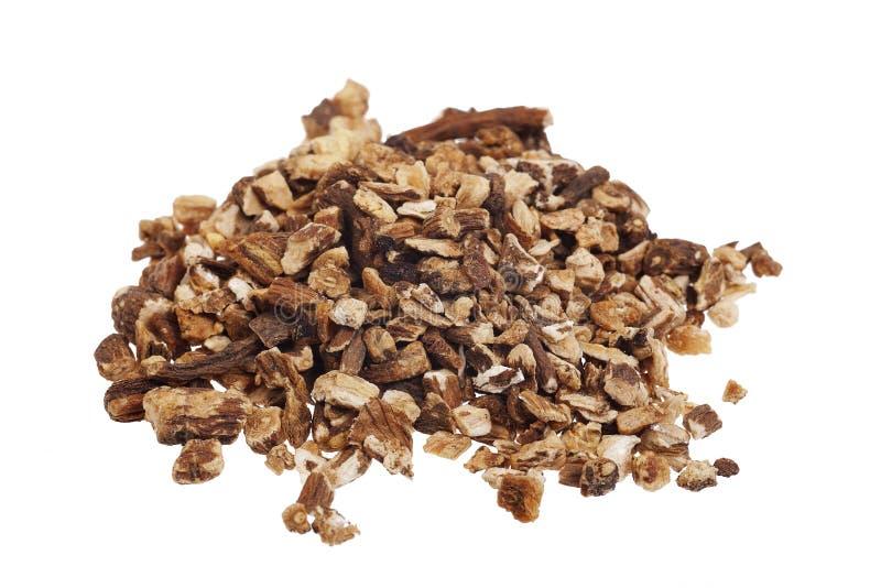 Dried dandelion root tea. Organic dried dandelion root herbal tea stock photos