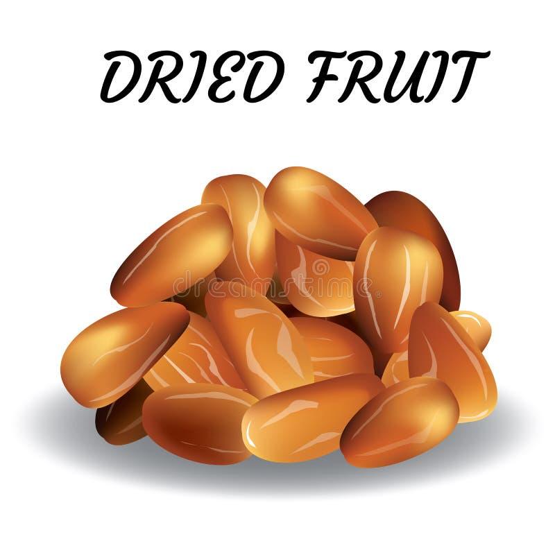 Dried date palm fruits or kurma, ramadan food.Illustration of Eid Mubarak royalty free illustration
