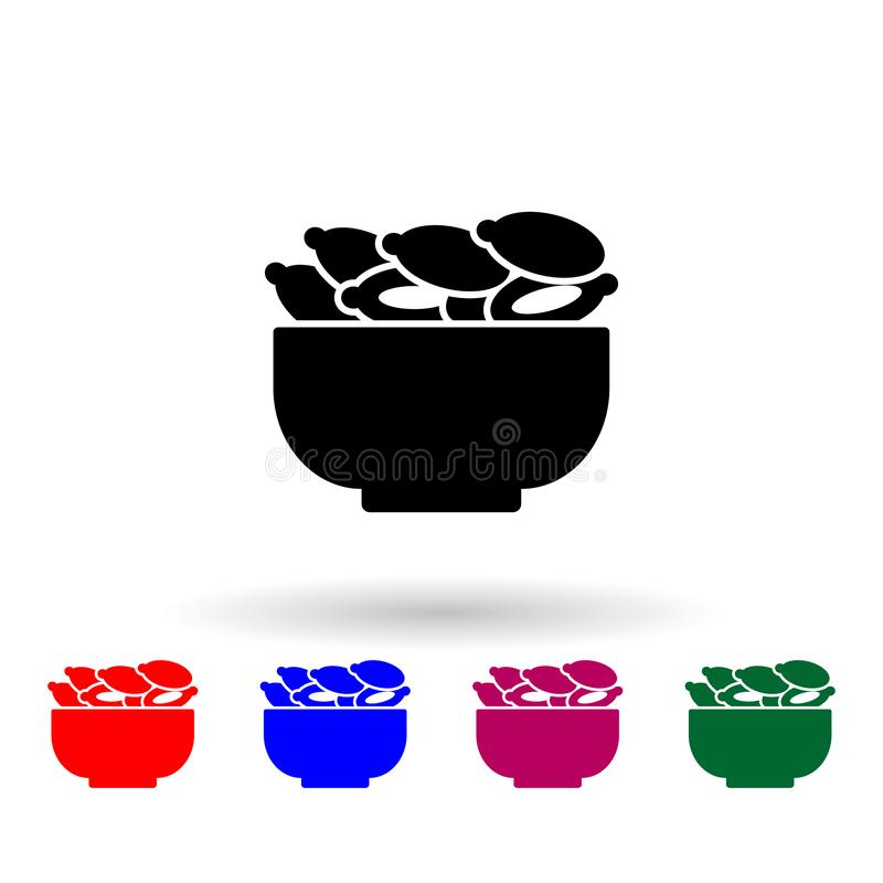 Dried dates in plate multi color icon. Simple thin line, outline  of ramadan icons for ui and ux, website or mobile. Application on white background stock illustration