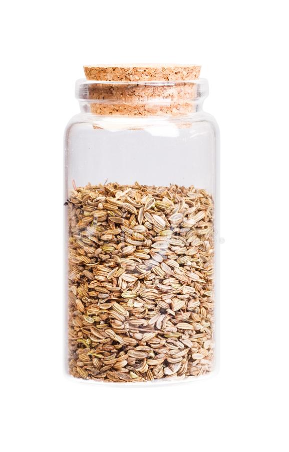 Dried fennel seeds in a bottle with cork stopper for medical use.  royalty free stock image