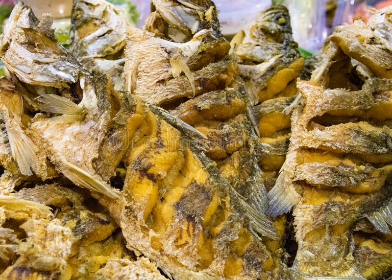 Dried fish fry for crispy, Dry fish for fried to eat in the fish market. Asia food royalty free stock image