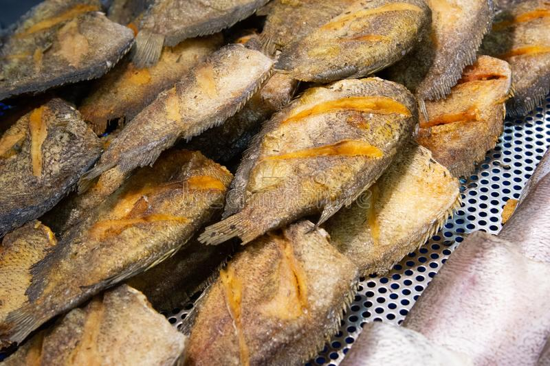 Dried fish fry for crispy, Dry fish for fried to eat in the fish market. Asia food stock photos