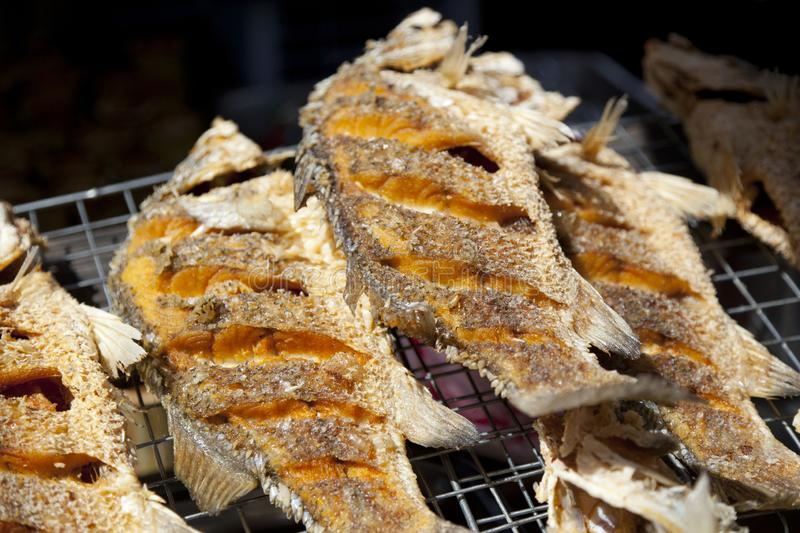 Dry fish for fried to eat in the fish market. Dried fish fry for crispy, Dry fish for fried to eat in the fish market, asia food stock image
