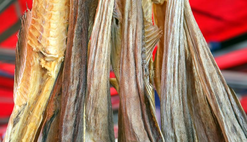 Dried fish on the store counter. The dried fish on the store counter stock photo