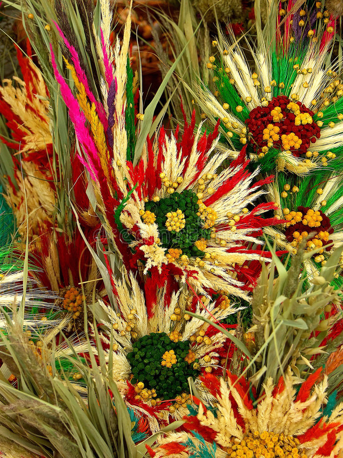 Dried flower composition. Easter decoration from cereal ears and dried flowers stock photo