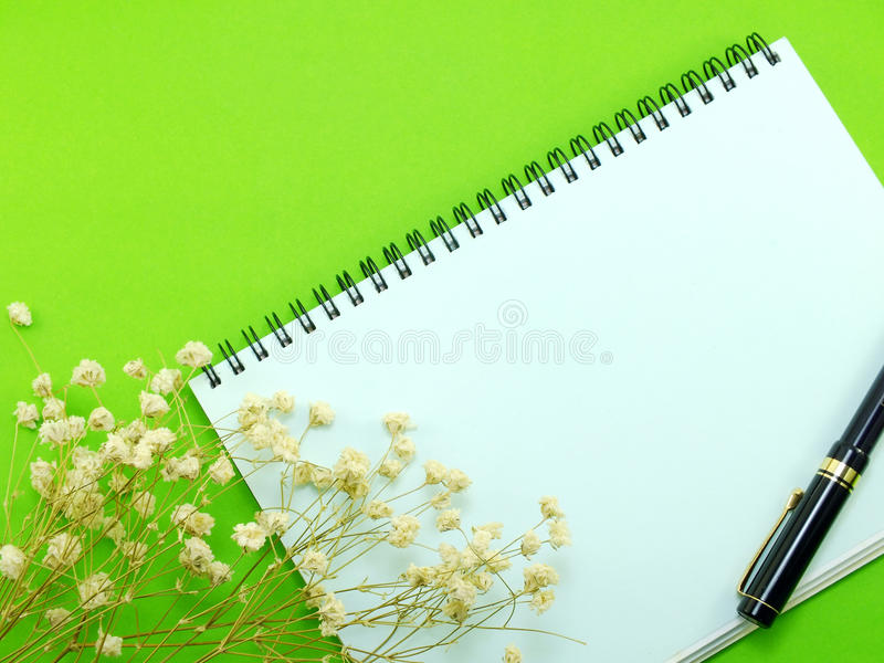 Dried flowers and empty notebook page. Dried flowers decore and empty notebook page royalty free stock photos