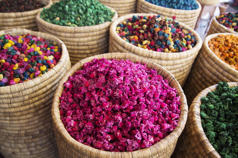 Dried Flowers. For sale in a Marrakech market royalty free stock image