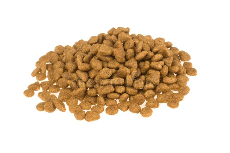 Dried food for dogs or cats isolated in white background. Pet care.  royalty free stock images