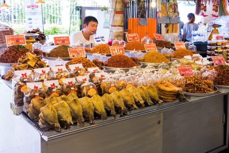 Dried food on a stall at Or Tor Kor market, Chatuchak, Bangkok, Thailand stock photography