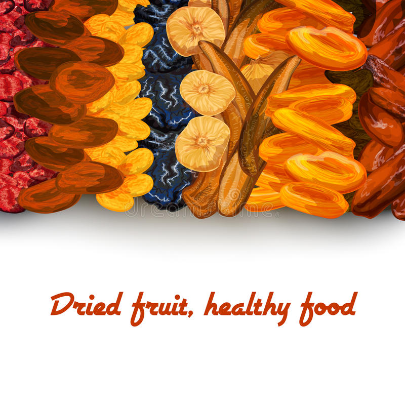 Dried fruit background print vector illustration
