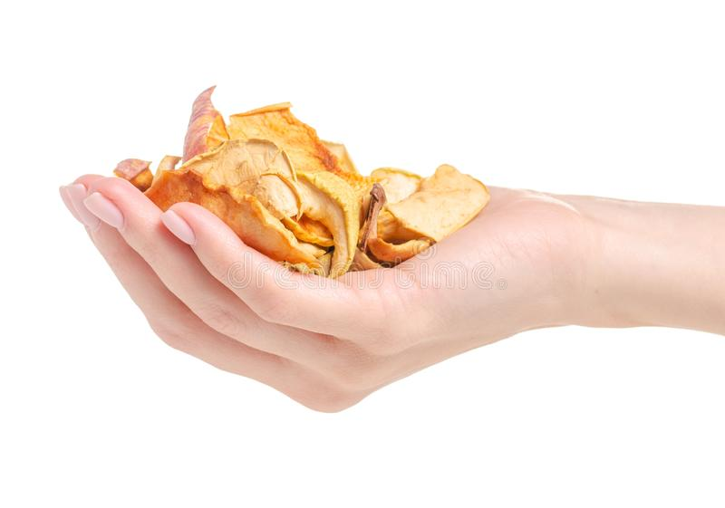 Dried fruit chips in hand royalty free stock photo