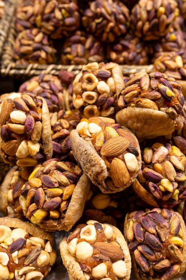 Dried fruit dessert with fig and different nuts. royalty free stock photos