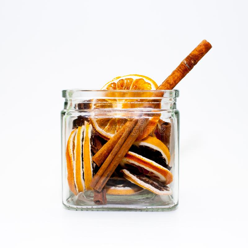 Dried fruit in a glass stock images