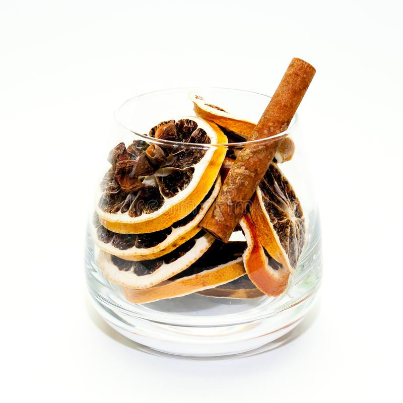 Dried fruit in a glass stock photos