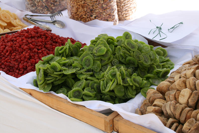 Dried fruit in market. Cyprus stock image