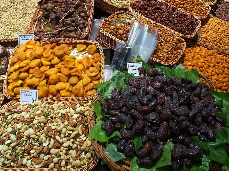 Dried Fruit and Nuts, Saint Josep Market, Barcelona royalty free stock photos