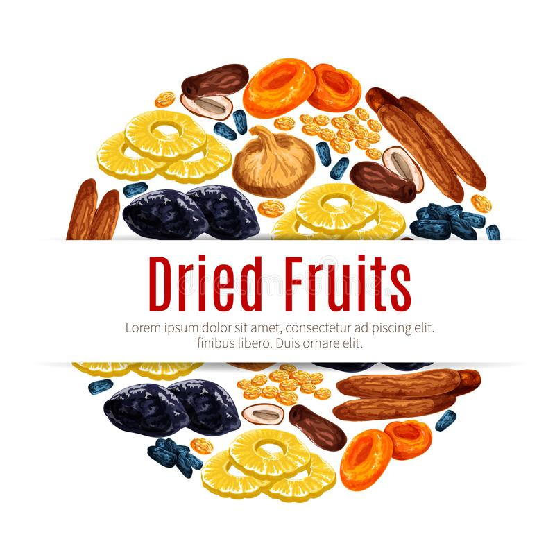 Dried fruit, raisin, apricot label for food design royalty free illustration