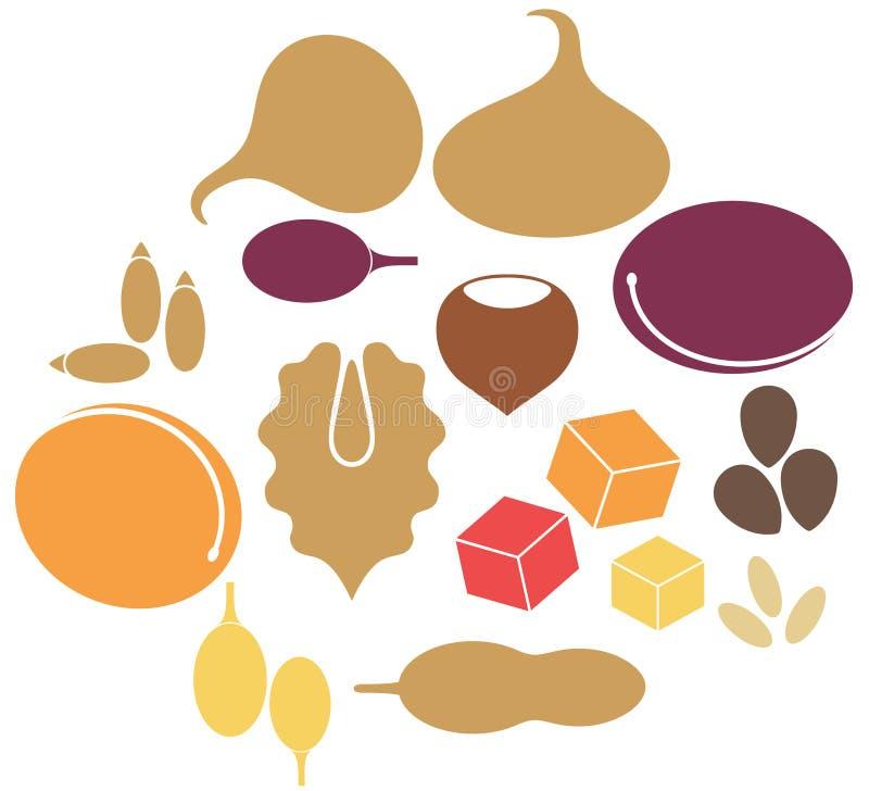 Dried Fruit. Set. Isolated objects on white background. Vector illustration (EPS 10 stock illustration
