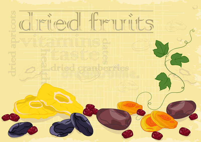 Dried fruits background. Dried fruits composition.Grunge background,outlined text. No gradients and transparency royalty free illustration