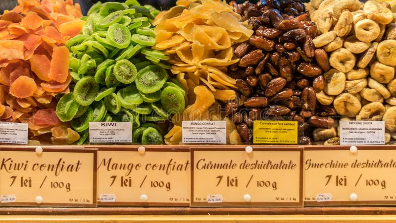 Dried fruits being sold at the Sibiu Christmas market in Romania royalty free stock images