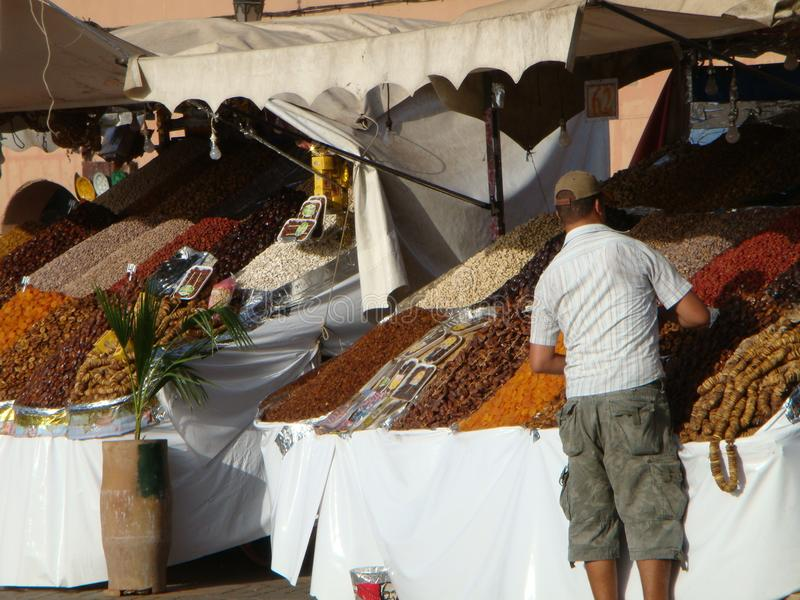 Dried fruits benches on the street to Marakkech in Maroc. royalty free stock images