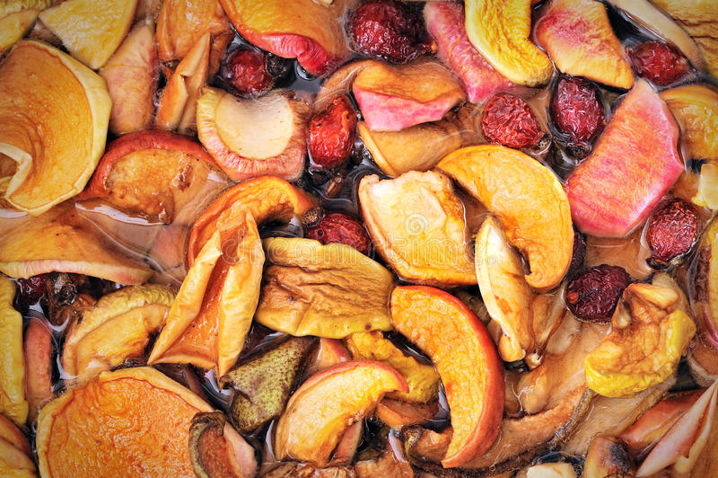 Dried fruits in boil. Dried fruits apple, pear, rose apricots in boil stock images