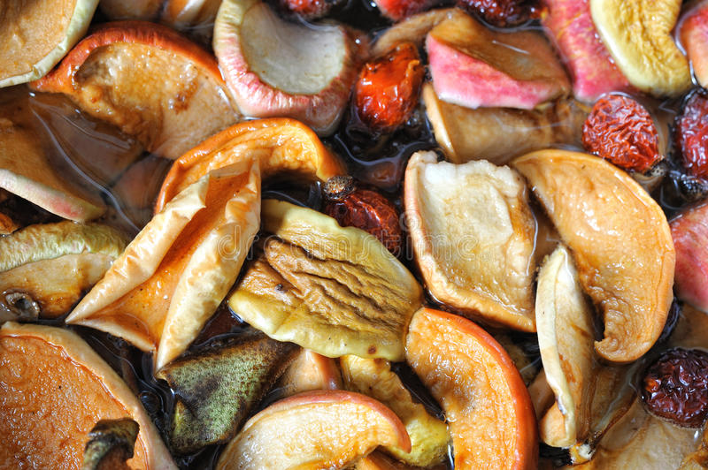 Dried fruits in boil. Dried apple, pear, rose apricots in boil royalty free stock photography