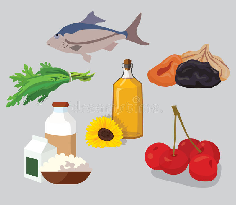 Dried fruits, cherries, dairy products, greens, vegetable oil, f. Ish - useful products. For your convenience, each significant element is in a separate layer royalty free illustration