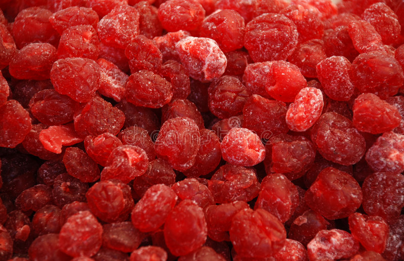 Dried fruits - Cherry. Background: colourful dried fruits and candied fruits - Cherry royalty free stock photo