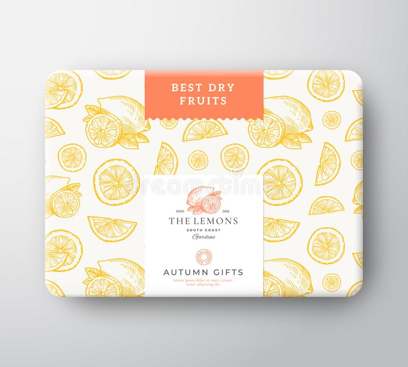 Dried Fruits Citrus Cardboard Box. Abstract Vector Wrapped Paper Container with Label Cover. Packaging Design. Modern. Typography and Hand Drawn Lemons and vector illustration