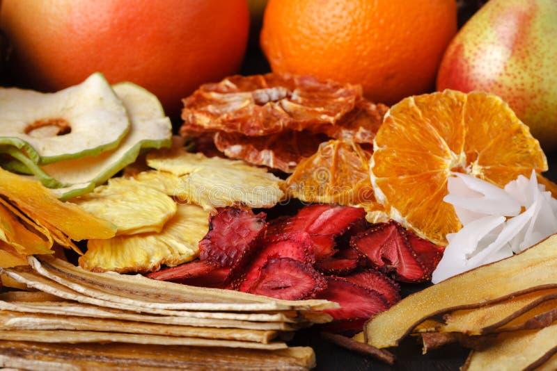 Dried fruits close-up. Dried fruits close up on table stock photo