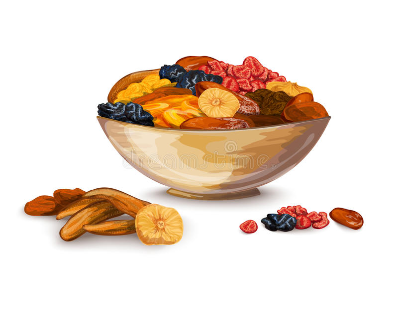Dried Fruits Composition. Dried fruits bowl composition with prune banana dried apricot vector illustration royalty free illustration