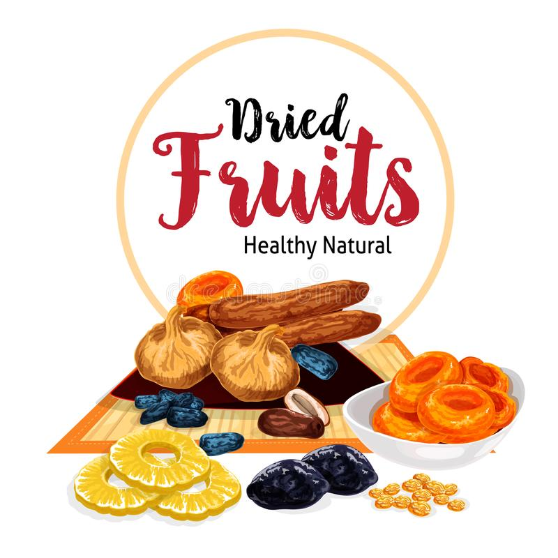 Vector poster of dried fruits and dry fruit snacks. Dried fruits or dry fruit snacks of raisins, prunes or pineapple and dried apricots, dates or figs and cherry vector illustration