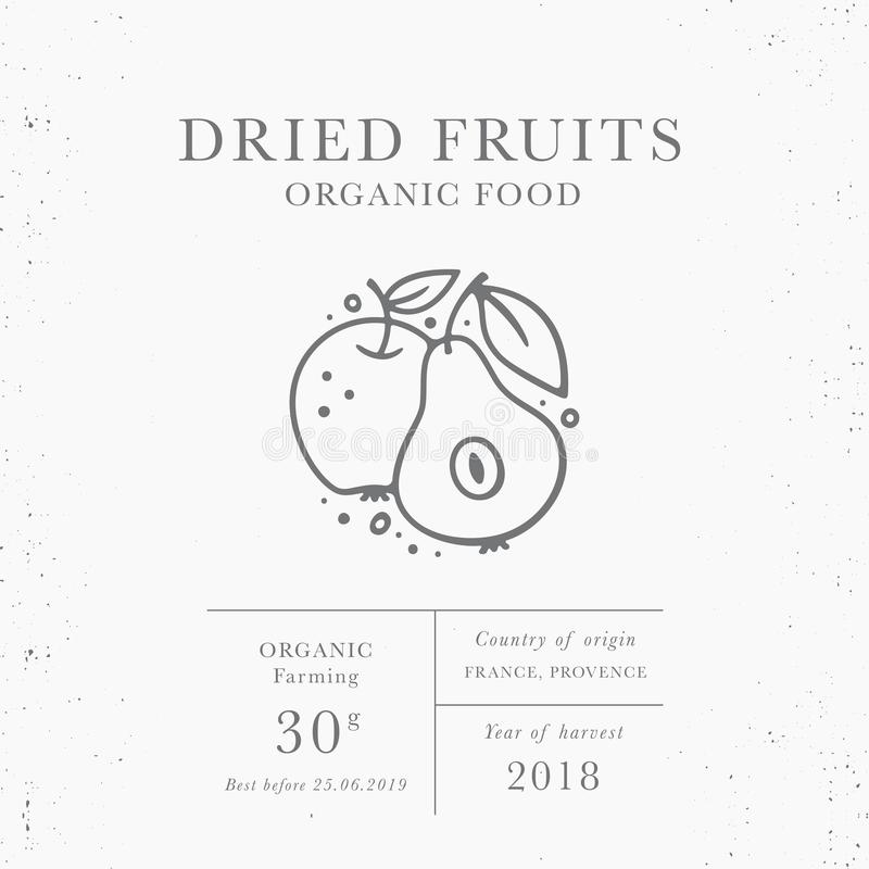 Dried fruits - emblem of packaging design template. Fresh local fruit and vegetales collection. Organic food - logo in trendy linear style isolated on white royalty free illustration