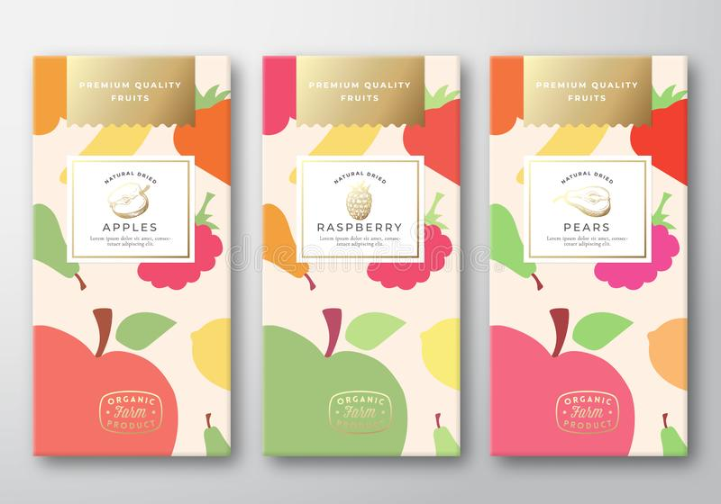 Dried Fruits Label Packaging Design Layout Collection. Abstract Vector Paper Box with Fruit and Berries Pattern. Background Cover. Modern Typography and Hand royalty free illustration